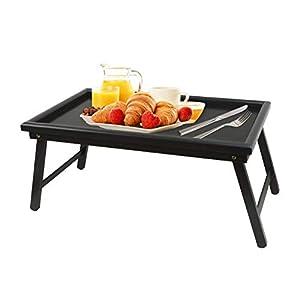 ZRI Bamboo Betttablett Serviertablett Tabletttisch mit klappbaren Beinen - Sofatisch Frühstückstablett fürs Bett 60x30x23cm, Bambus (Schwarz)