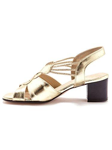 Pediconfort - Sandales extra larges, en cuir Doré
