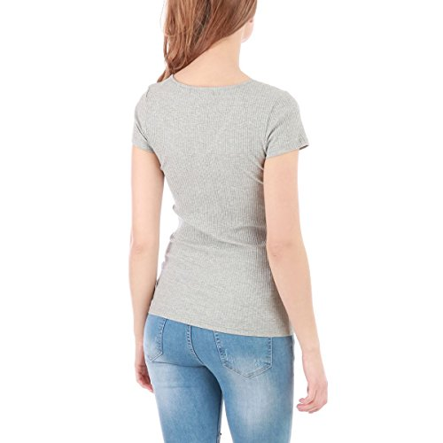 La Modeuse - T-shirt femme côtelé Gris