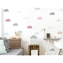 I-love-Wandtattooo WAS-10637 - Set di adesivi da parete per camera bambini, nubi in delicate tonalità pastello, 18 pezzi, cielo per incollaggio, adesivi murali, adesivi, decorazione della parete