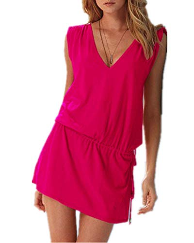 iges Damen Sommerkleid mit tiefem V-Ausschnitt in Pink - Rückenfreies Freizeitkleid Ideal als Bikini Cover Up, Strand, Urlaub, Pool, Meer, See, Sommernächte, Party. ()