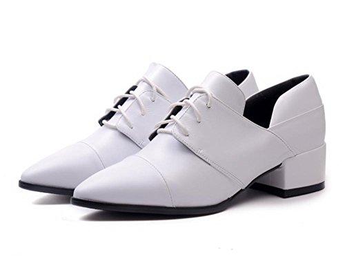 scarpe primavera nuovo primo strato di pelle con una punta del piede scarpe casuali White