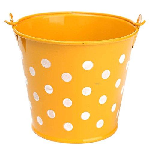 Bluelover mini pois ferro foglio flower pot di fiori in vaso pianta vaso di fiori giardino decorazione-giallo