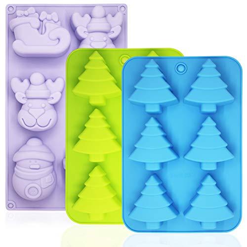 YuCool Silikon Backformen für Weihnachten,antihaftbeschichtet,für Partys,als Geschenk,für Kuchen,Schokolade,Seife, mit Weihnachtsbaumform, Schneemann,Elch,Schlitten grün,blau,violett,3 Stück