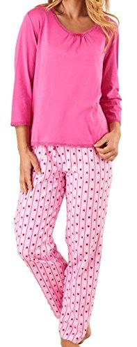 Slenderella Damen Luxus Plain rosa Top & Streifen & Liebe Herzen Hose 140GSM 100 % weiche Flanell Baumwolle Taste Up Pyjama Größe groß (Streifen-damen-flanell)