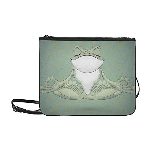 WYYWCY Lustige Baum-Frosch-Meditation Yoga-Frosch-Muster-kundenspezifische hochwertige Nylon-dünne Handtasche Umhängetasche Umhängetasche