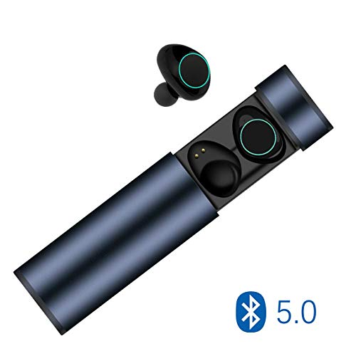 Auricolari Bluetooth 5.0 Senza Fili , Cuffie Bluetooth Wireless Muzili TWS Leggeri Pettorali Hi-Fi Cuffie Cancellazione Rumore, Touch Screen Impermeabile a IP65, Bluetooth Earbuds con MIC per iPhone e Android con Scatola di Ricarica Portatile-Blue