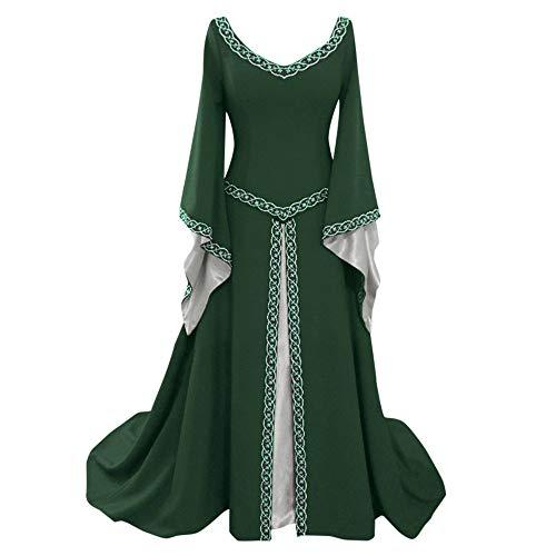 Damen Kleid Vintage Short Petal Sleeve Slash-Neck Mittelalterlichen Kleid Cosplay Kleid mit Trompetenärmel Mittelalter Party Kostüm Kleidung (Party Bei Der Darstellung Und Kostüm)