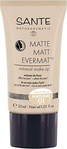 SANTE Naturkosmetik Matte Matt EvermatTM Mineral Make up 01 Natural, Heller Hautton, Mattes Finish, Vegan, Natural Make-Up, 30ml -