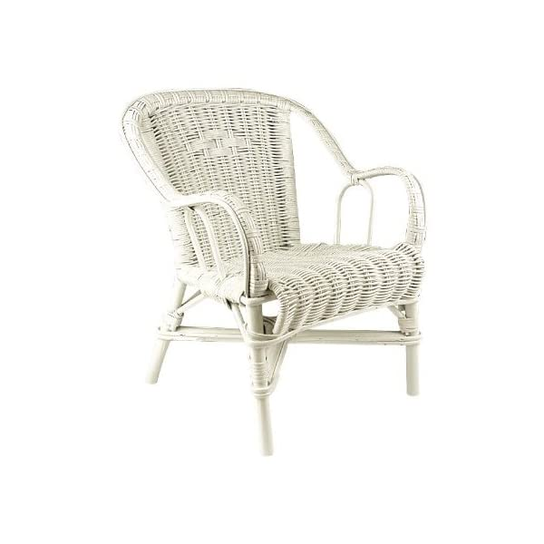 White Painted Wicker Child's Chair PEGANE Dimensions: 41 x 42 x 50. Seat height: 27. 1