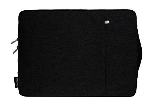 Emartbuy Universal 13.3 - 14.0 Inch Schwarz Premium Stoff Tragetasche Deckel mit Einziehbarer Griff und Reißverschlusstasche Geeignet für Ausgewählte Selected Laptops Notebooks Ultrabooks Aufgeführt Unten (Laptop-deckel Aspire Acer)