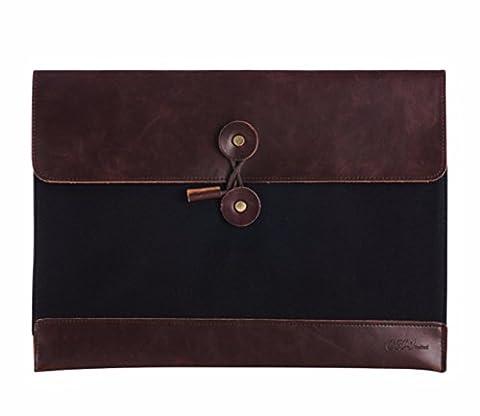 GossipBoy Vintage Portable PU Leather A4 File Folder Pocket Document Wallet Paper Files Record Bag Business Handbag Storage Organizer Briefcase