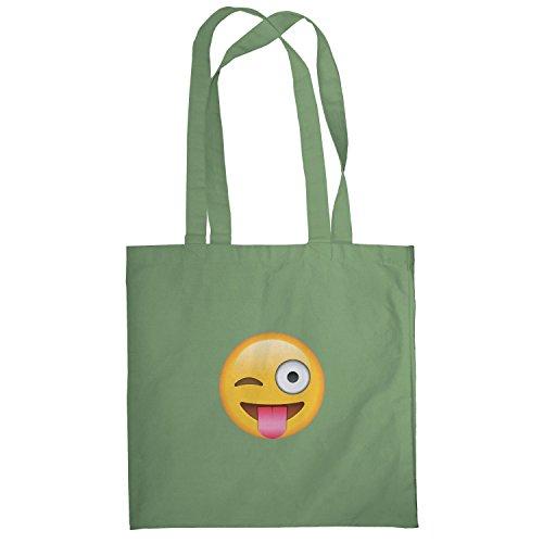 Texlab–Tongue Out Emoji–sacchetto di stoffa Oliva