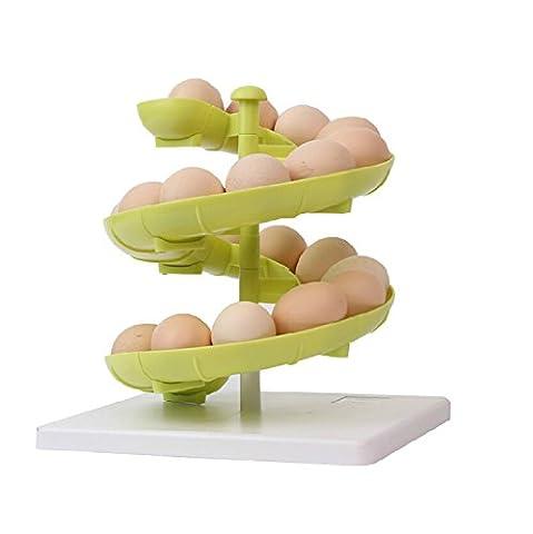 YIXIN Distributeur d'œufs en plastique Support pour les œufs moyens à gros avec base Vert