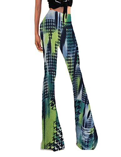 Donna Pantaloni Casual Moda Eleganti Midi Vita Modello Stampato Leggeri Morbidi Palazzo Verde
