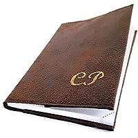 dea-concept Semainier agenda de poche 2019/2020 - simili cuir vegan marron vintage - broderie initiales ou nom - déc à déc - 16x24 cm ou 9x12,5 cm