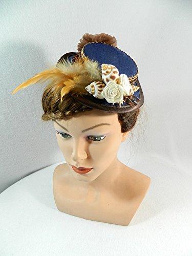 Mini Sommerhut blau braun Muscheln Maritim Damenhut Fascinator Bibi Chapeau Cocktail Hat Steampunk Hütchen