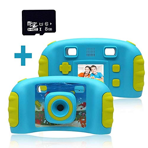 Video-editing-karte (Premium Blue Cute Kinder Digitalkamera mit 8G Micro SD Karte, Kinder Kameras 1,8