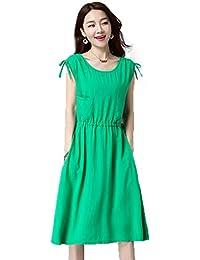 bfde380a8b2 Weirk Damen Elegant Blusen Kleid Chic Volltonfarbe Büro Kleid Reifen  Ärmellos…