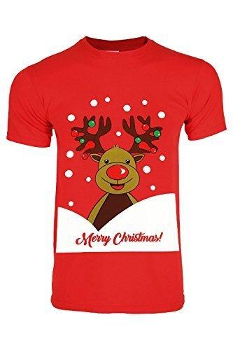 Oops Outlet Herren Weihnachten Santa Schneemann Rentier Pinguin Hupe Rundhals Kurzarm T-Shirt Pullover Top Größe S-XXL - Rentier Hupe Merry Christmas Rot, Medium (Pinguin-kurzarm-pullover)