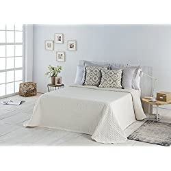 COTTON ART- Colcha PIQUE BEIGE Mod. BIDEA cama de 180 ( 270 x 260 cm). 80% ALGODÓN-20% POLIÉSTER