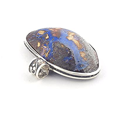 Pendentif de Boulder Opale australienne et Argent 925 en en forme ovale 17x26x7 mm