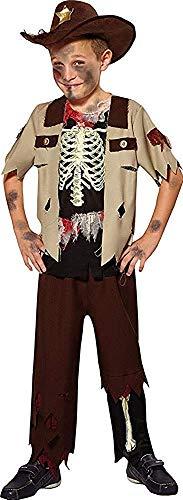 Jungen Halloween Kostüm Wilder Westen Party Zombie Cowboy Kostüm Skelett Sheriff - Multi, Medium