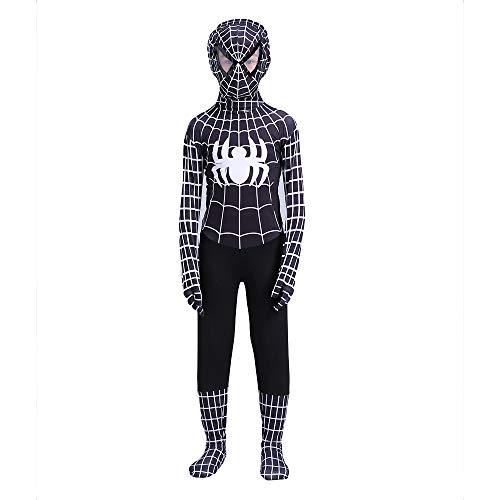 e Spider-Man-Kostüm, Kinder Erwachsene Spider-Man-Overall Film Cosplay Onesies Siamese Tights Masquerade Halloween-Kleidung,Black-M(120~140 cm) ()