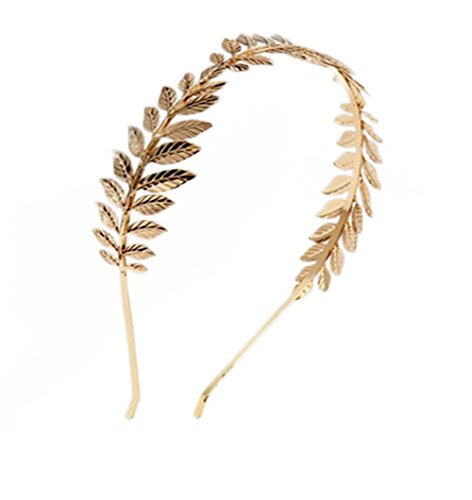Doitsa 1 Stück Haarband Hochzeit Braut Stirnband Charming Haarreif 3 Blätter Kopfband Kostüm Accessories (Gold)