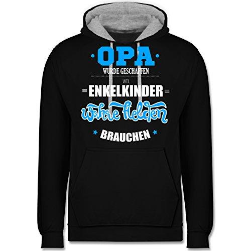 Opa - Opa wurde geschaffen - Kontrast Hoodie Schwarz/Grau Meliert