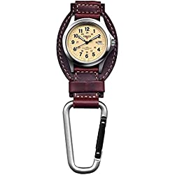 Dakota Leather Field Clip Watch - Sturdy and Stylish Analog Display Carabiner Watch - Oil Tanned Genuine Leather Fob - Luminescent Hands and Hour Markers - Luminescent Hands and Hour Markers - Japan Quartz Movement - Water-resistant for up to 100 feet - Brown