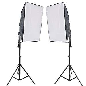 RPGT® Ein Paar 50 x 70 cm Soft Box Set Studioleuchte Softbox Fotolampe with 2m Lampenstativ Tripod