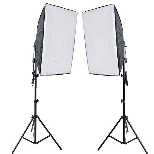 fotostudio lampen RPGTEinPaar50x70cmSoftBoxDauerlichtSetStudioleuchteSoftboxE27 Sockel 5500K TageslichtFotolampemit2,4MLampenstativTripodfürFotoStudioPorträts,YoutubeVideo,Produktfotografie