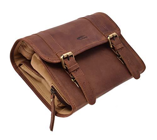 Menzo Kulturbeutel zum Aufhängen, aus echten Leder, Kulturtasche, Toilettentasche, Damen und Herren (deltabraun)