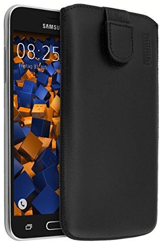 mumbi ECHT Ledertasche Samsung Galaxy J3 (2016) Tasche Leder Etui schwarz (Lasche mit Rückzugfunktion Ausziehhilfe)