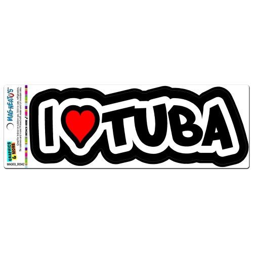 Preisvergleich Produktbild I Love Tuba-Messing-Band Musikinstrument MAG NEATO'S (TM) Automotive-MOTORHAUBE Locker Kühlschrank Vinyl-Magnet