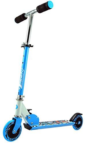 Best Sporting Big Wheel 125 Scooter, 3-stufig Höhenverstellbarer Kickscooter 68,5-73,5-78 cm aus Aluminium mit Soft-Griffen, Tretroller, Farbe: Blau/Weiß (3-rad-klapp-roller)