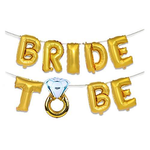 FairOnly 16 Zoll Braut Brief Diamant Ring Form Folienballons Set für Partydekorationen Golden diamond ring bride (Diamant-ringe Sets)