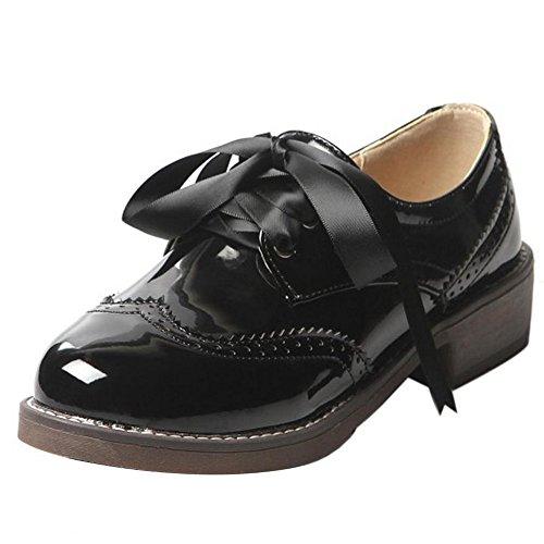 Decontractee COOLCEPT Femmes Richelieu Dentelle Classique Noir Escarpins Oxford Chaussures pwwr5Udq