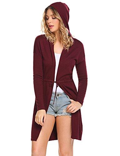 Meaneor Damen Strickjacke Lässig Casual Cardigan mit Kapuze Langarmshirt Outwear offenem V-Aussschnitt aus Hochwertiger Baumwoll-Mischung