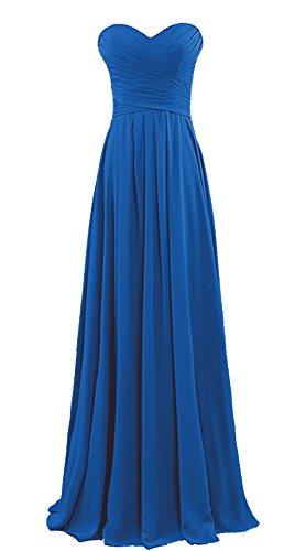 Vantexi Damen Chiffon Lang Formal Abendkleid Ballkleid Brautjungfernkleider Blau Größe 54
