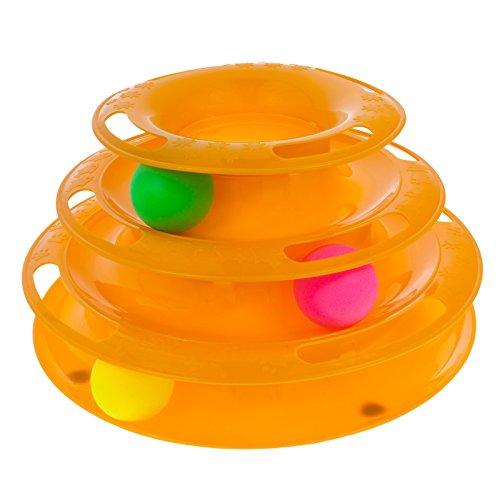 Smartfox Katzen Spielzeug Spielring Spielschiene Spielturm mit Bällen Kreisel Training Aktivspielzeug Beschäftigung in orange