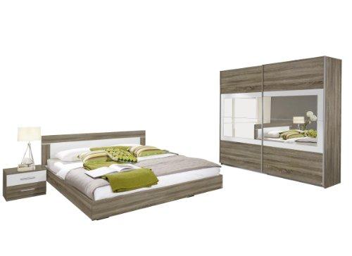 Rauch Schlafzimmer Komplett Set mit Bett 180x200, Schrank mit Spiegel und Nachttischen, Eiche Havanna, Absetzungen Weiß Alpin (Matratze-komplett-sets Schlafzimmer)