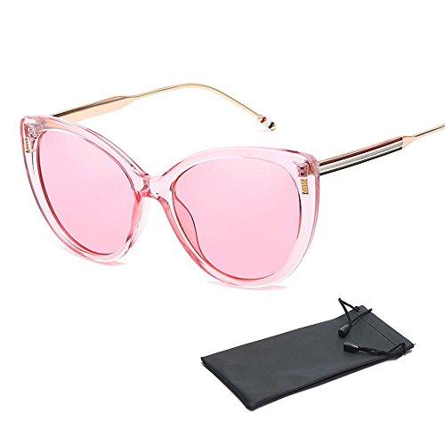 Oversize Cateye Sonnenbrille, für Männer, Frauen, Aolvo verspiegelte Linse Fashion Designer Polarisierte Katzenauge Sonnenbrille für Mädchen, Vintage Cateye Sonnenbrille für Damen mit Set Tasche, UV400, mehrere Farben Crystal Pink Frame & Pink Lens
