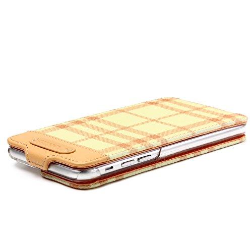 Urcover® iPhone 6 6S Hülle, Wallet Checker Series Case Schutzhülle Etui Bookstyle Flip Cover Klapphülle Handyhülle für Apple iPhone 6 / 6S Farbe: Braun - Orange - Gelb Flip