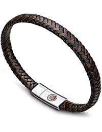 Mens Leather Bracelet – Classic Handmade Braided Black & Brown Cuff Bracelet with Engraved Magnetic Clasp Free Jewelry Gift Boxed