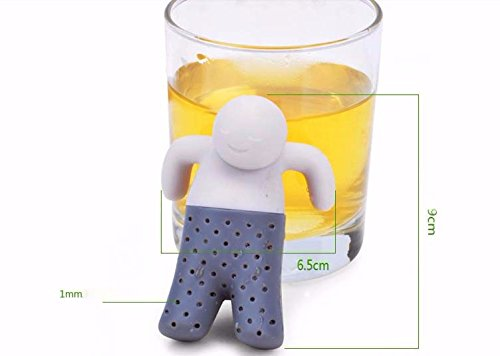 SpiderJuice Creative Multipurpose Food Grade BPA Free Silicone Mr.Tea Tea Infuser Diffuser Strainer for Loose Herbal Spice Green Tea Filter (Single Piece)