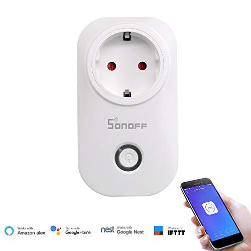 SONOFF S20 TPE-FR Prise Connectée WiFi Intelligente, Fonctionne avec Amazon Alexa & Google Home Assistant, Prise en Charge IFTTT, Prise Intelligente avec Minuterie Prise de Courant Prise Télécommandée