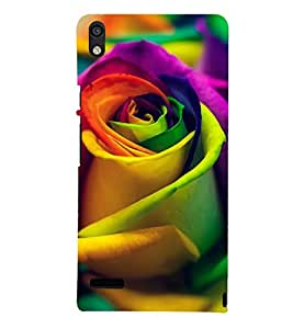printtech Multicolored Rose Back Case Cover for Huawei Acend P6