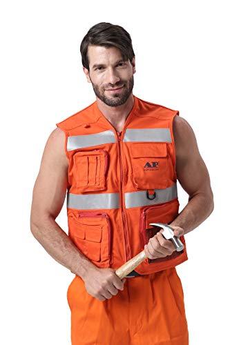 Mufly Sicherheitweste Hohe Sichtbarkeit Warnweste mit Reflektorstreifen,Reflektierende Weste mit Taschen und Reißverschluss,EN ISO (XXL) - Personal-reißverschluss